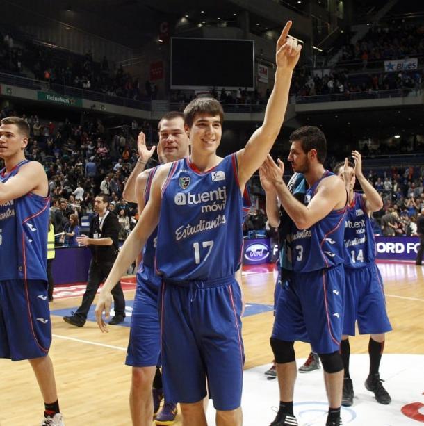 Juancho tras su primera canansta en la ACB / Fuente: Movistar Estudiantes