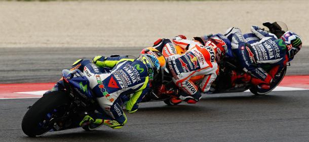 Jorge Lorenzo, Marc Márquez y Valentino Rossi Misano 2015. Foto: moto1pro