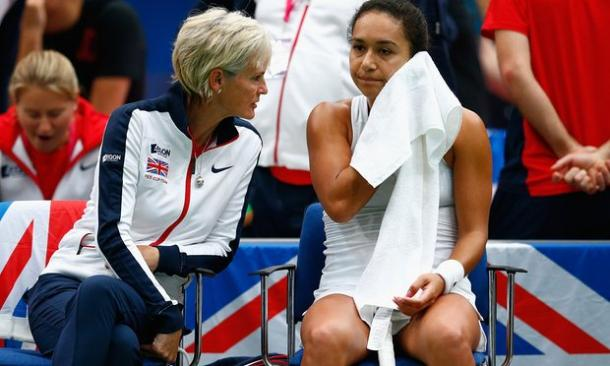 Judy Murray was known to have a close bond with her players, seen here speaking with Heather Watson (Source: The Guardian)