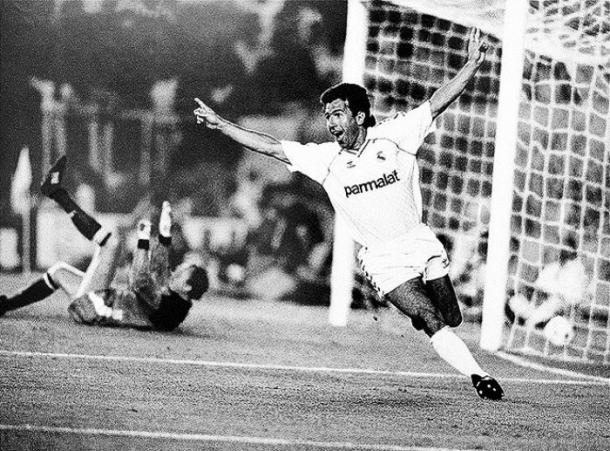 Juanito celebrando un gol   Fuente: realmadrid.com