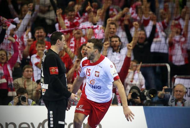 Jurecki tiró de Polonia en ciertos momentos de la segunda mitad. Foto: Uros Hocevar.