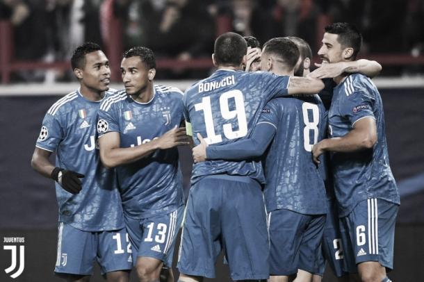 Juventus celebrando su gol en Champions ante el Lokomotiv Moskva. Vía Twitter @juventusfc