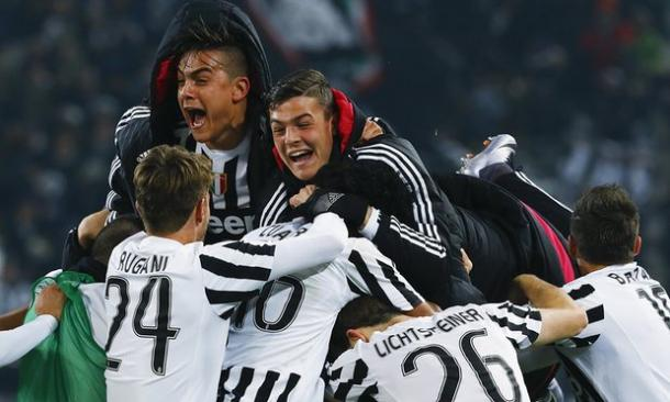 The Juventus players celebrate following their vital win over Napoli (Source: The Guardian)