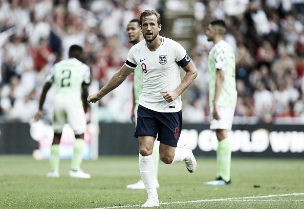 Kane comemorando seu gol contra a Nigéria no Wembley Stadium (Fonte:Getty Images)