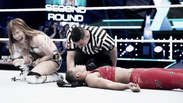 Sane gets a hard earned victory. Photo-WWE.com