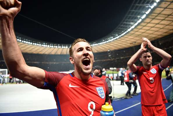 Kane celebrates England's win over Germany, a game in which he scored (photo: getty)