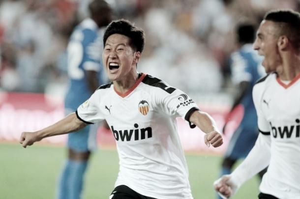 Kangin Lee eufórico con su tanto./ Foto: LaLiga Santander