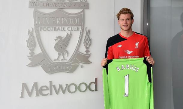 Karius pictured with the No.1 shirt he will wear next season for the Reds. (Picture: Liverpool FC)
