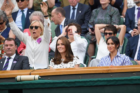 Kate Middleton, Meghan Markle, Billie Jean King e Martina Navratilova foram apenas algumas das celebridades presentes na partida (Foto: Wiremalge/Getty Images)