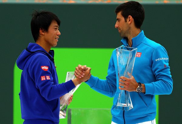 Nishikori with Djokovic at the Miami Open (Photo by Mike Ehrmann / Source : Getty Images)