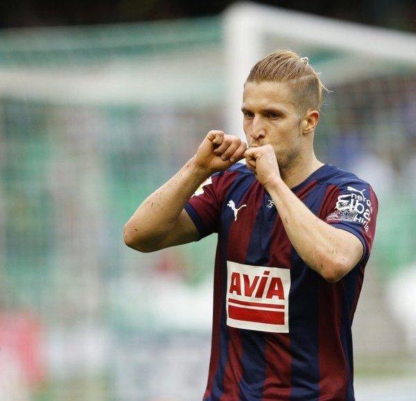 Keko celebra un gol con el Eibar | Foto: Eibar