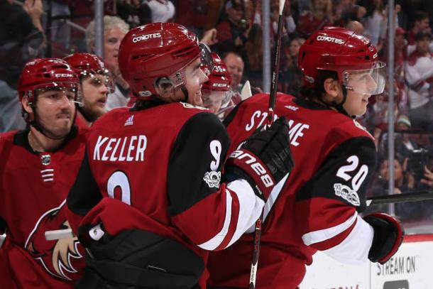 Clayton Keller has been a pleasant addition to the Coyotes. He leads the team in scoring. (Photo: Getty Images)