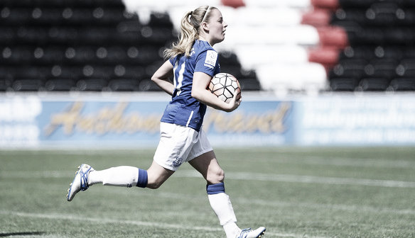 Everton's Kelly Jones after equalising against Millwall. Photo: http://everton.fawsl.com/