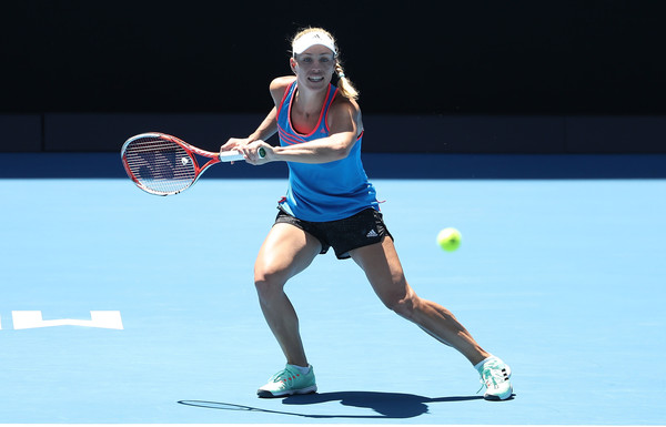 Kerber picture here during a practice session at Melbourne Park (Photo by Scott Barbour / Getty Images)