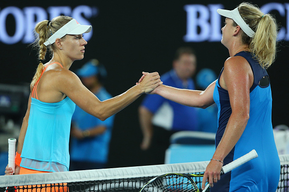 Kerber and Vandeweghe shake hands at the net to cap off a stunning seventh day of play at the Australian Open (Photo by Michael Dodge / Getty Images)