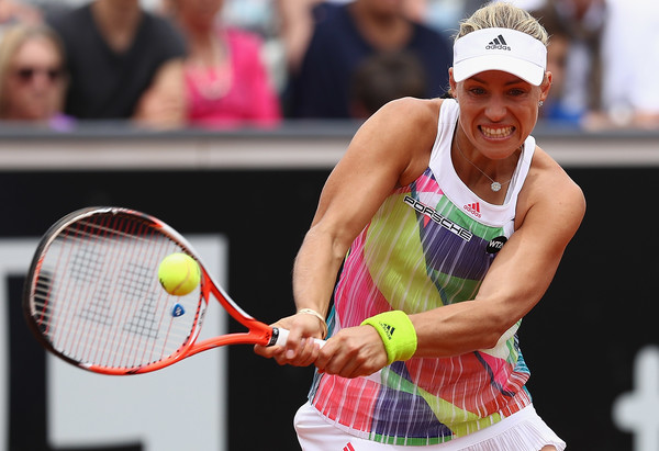 Angelique Kerber of Germany in action against Canada's Eugenie Bouchard (Matthew Lewis/Getty Images)