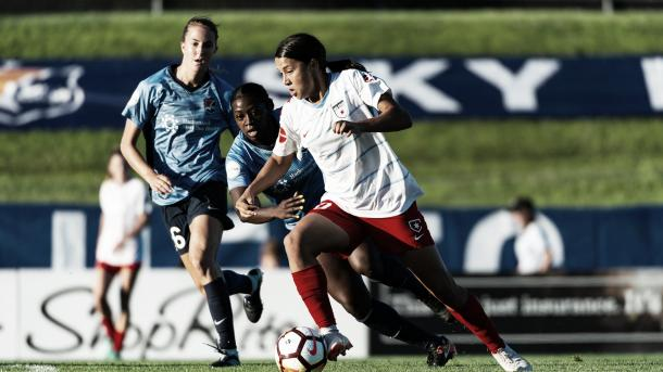 Sam Kerr with the Chicago Red Stars at Yurcak Field in Piscataway, NJ on July 7, 2018 | Photo: NWSLsoccer.com