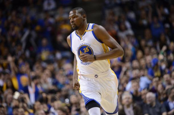 Kevin Durant will get his first taste of the playoff with his new team. Photo: Noah Graham/Getty Images