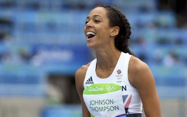 Johnson-Thompson reacts to breaking the british record after a jump of 1.98 | Source: getty