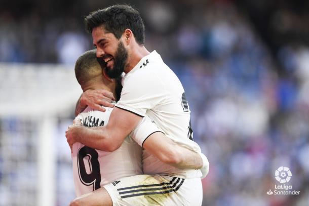 Isco celebrando el gol junto a Benzema. Foto: Liga Santander.