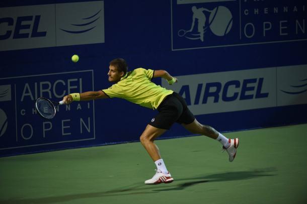 Klizan competing against Bedene in Chennai (Source: @chennaiopen)