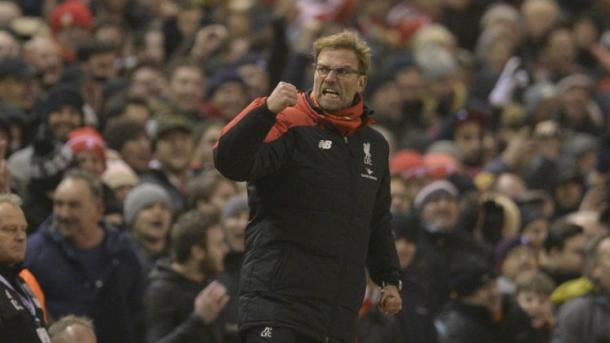 An ever-passionate Klopp celebrates Liverpool's late equaliser in a 2-2 draw with West Brom in December. (Picture: www.theweek.co.uk)