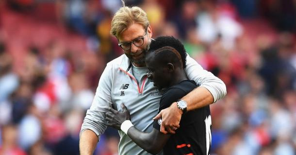 Klopp with Mane in front of the away supporters at the end of the game. (Picture: Getty Images)