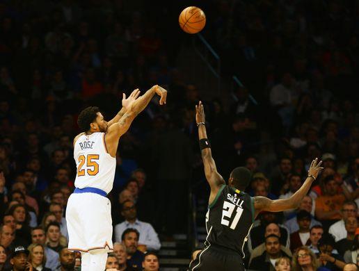 New York Knicks guard Derrick Rose(25) shoots over Milwaukee Bucks guard Toney Snell (21). Photo Courtesy of  Andy Marlin-USA TODAY Sports.