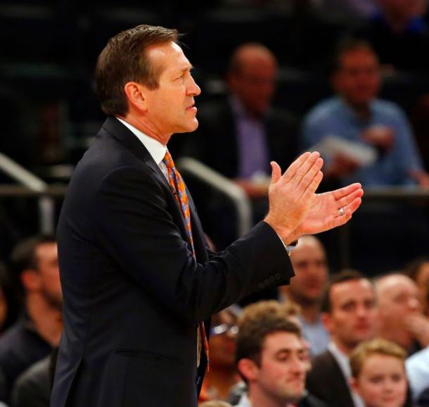 New York Knicks Coach Jeff Hornacek appulads his team for the sidelines. Photo Credit: Jim McIsaac/newsday.