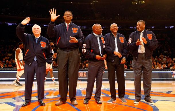 The Knicks 83-84 team being honored at MSG. (Left to Right)  Former Head Coach Hubie Brown. Players Bill Cartwright, Rory Sparrow, Darrell Walker and Bernard King Photo by: Jim McIsaac/Newsday