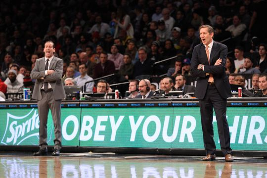 Brooklyn Nets head coach Kenny Atkinson (left) and New York Knicks head coach Jeff Hornacek (right) look on from the sidelines. Photo courtesy of  Brad Penner-USA TODAY Sports.