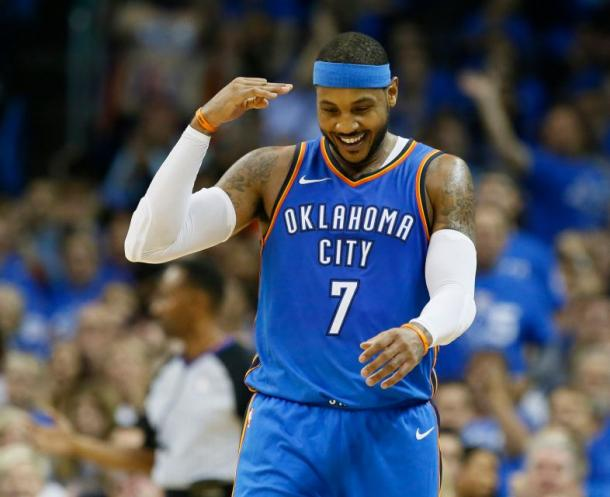 Oklahoma city Thunder SF Carmelo Anthony celebrating during the game. Photo: AP/Sue Ogrocki