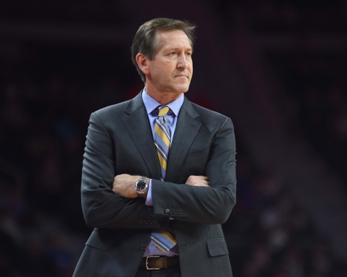 New York Knicks' head coach Jeff Hornacek looks on from the sidelines. Photo Courtesy of Tim Fuller-USA TODAY Sports.