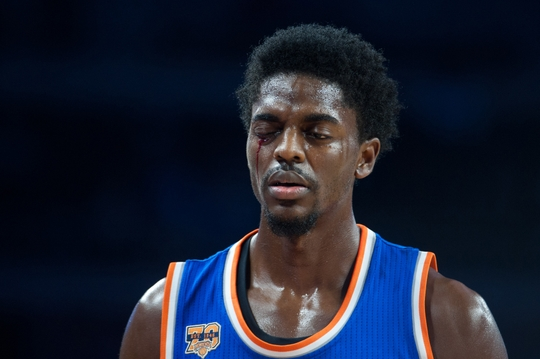 New York Knicks' guard Justin Holiday after getting a elbow to the eye. Photo Courtesy of Tim Fuller-USA TODAY Sports