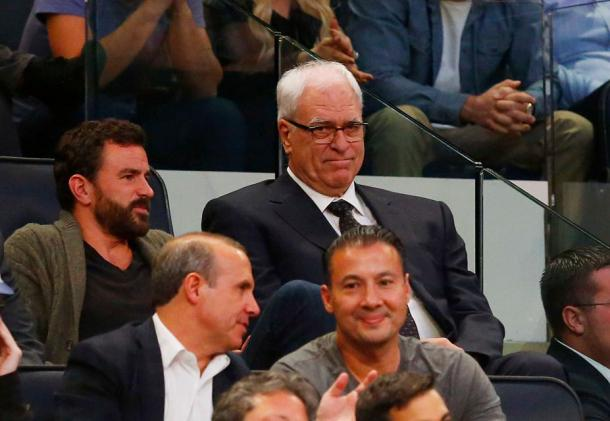 New York Knicks' President Phil Jackson in attendance for the game. Photo Courtesy of Jim McIsaac, Newsday