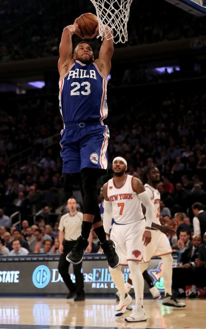 Philadelphia 76ers forward Justin Anderson (23) goes for a dunk. Photo Courtesy:Getty Images / Elsa