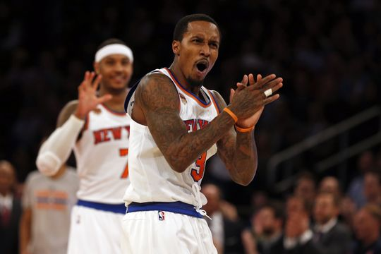 New York Knicks Guard Brandon Jennings reacting. Photo Courtesy of  Adam Hunger-USA TODAY Sports.