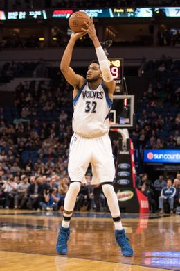 Minnesota Timberwolves Center Karl-Anthony Towns attempting a field goal. Photo Courtesy of Brace Hemmelgarn-USA TODAY Sports