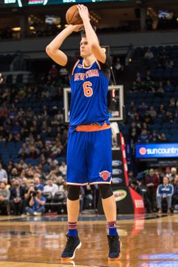 New York Knicks Forward Kristaps Porzingis attempts a field goal. Photo Courtesy of Brace Hemmelgarn-USA TODAY Sports.