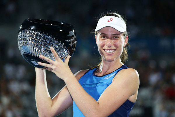 Konta holding her second WTA title in Sydney (Photo by Matt King / Getty Images)