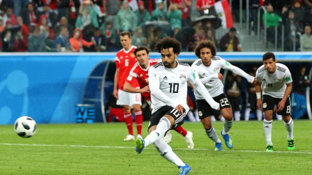 Mohammed Salah opened his World Cup account against Russia | Source: Getty Images via FIFA.com