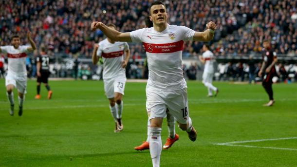 Kostic celebrating a goal last season.