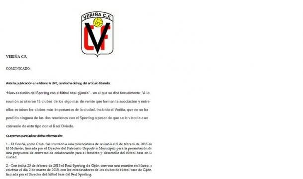 Primera parte del comunicado del club gijonés   Foto: Veriña CF