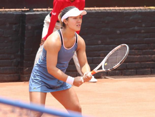 Kristie Ahn was serving for the first set against Serena Williams before eventually losing (Credits: Alice Cimino)