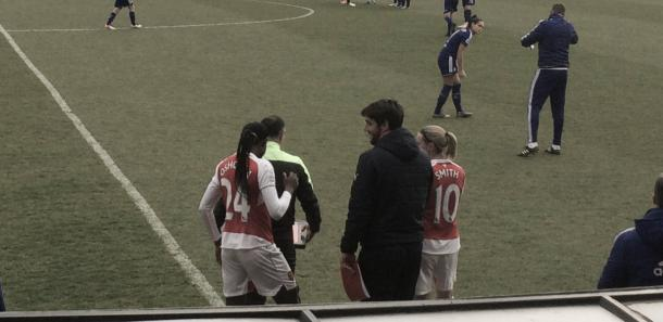 Arsenal hoping for inspiration off of the bench: All change from Pedro Martinez Losa at half time, Kelly Smith and Asisat Oshoala on for Marta Corredera and Vicky Losada.