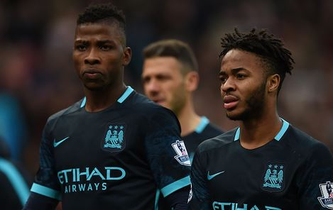 Kelechi (left) and Raheem (right) look on in disappointment after City's most recent defeat, away v Stoke last Saturday