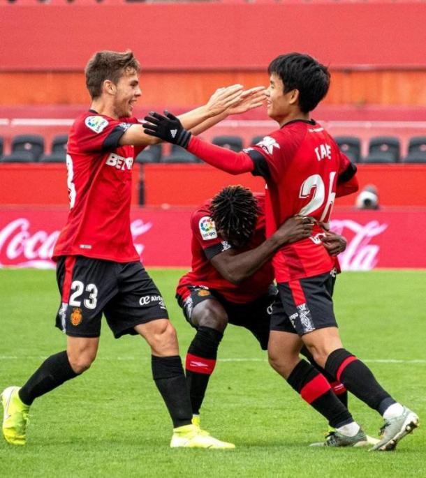 Febas, Kubo y Baba en un partido con el Mallorca. Fuente: RCD Mallorca