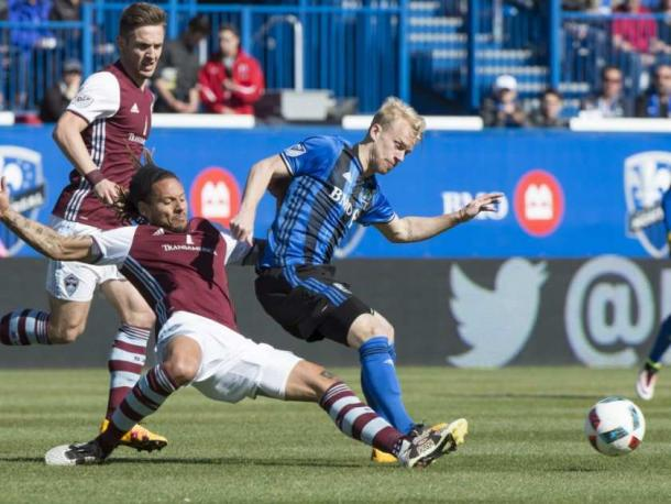Where ever an Impact player went on Saturday at the Stade Saputo, a Rapids player was their challenging for the ball. Photo provided by Canadian Press.