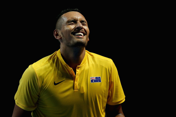 Kyrgios reacts to a point in his match with Nadal (Photo by Jason McCawley / Getty Images)