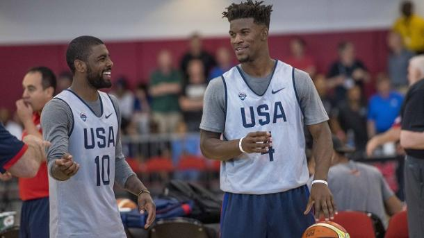 USA guard Kyrie Irving (10) and guard Jimmy Butler (4) talk during a USA basketball practice. |Joshua Dahl-USA TODAY Sports|